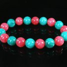 Women 7inch Polished Tibet & Nepal Stone Pink Green Beads Bracelet WZ2136-10M