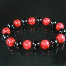 Women 7inch Polished Tibet & Nepal Stone Black Red Veins Beads Bracelet WZ2145-10M