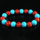 Women 7inch Polished Tibet & Nepal Stone Baby Blue Red Veins Beads Bracelet WZ2165-10M