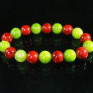 Women 7inch Polished Tibet & Nepal Stone Olive Green Red Veins Beads Bracelet WZ2181-10M