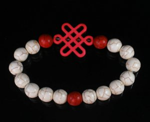 Charming Turquoise Colorful Chinese PINK Knot Bead WHITE RED Veins Beads Stretch Bracelet ZZ2717