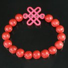 Charming Turquoise Colorful Chinese PINK Knot Bead RED Veins Beads Stretch Bracelet ZZ2738