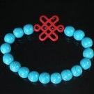 Charming Turquoise Colorful Chinese RED Knot Bead Veins BLUE Beads Stretch Bracelet ZZ2755