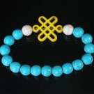 Charming Turquoise Colorful Chinese YELLOW Knot WHITE BLUE Veins Beads Stretch Bracelet ZZ2790