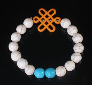 Charming Turquoise Colorful Chinese ORANGE Knot WHITE BLUE Veins Beads Stretch Bracelet ZZ2795