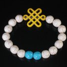 Charming Turquoise Colorful Chinese YELLOW Knot Bead WHITE BLUE Veins Beads Stretch Bracelet ZZ2797