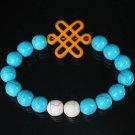 Charming Turquoise Colorful Chinese ORANGE Knot WHITE BLUE Veins Beads Stretch Bracelet ZZ2803