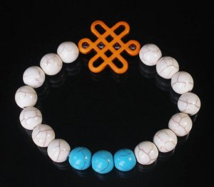 Charming Turquoise Colorful Chinese ORANGE Knot WHITE BLUE Veins Beads Stretch Bracelet ZZ2814