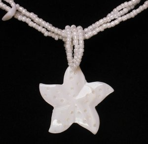 Natural Sea Shell Mother of Pearl Carved Star Statue Pendant Necklace GC1095