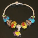 Plated Aldary Chains Colorful Glass Beads Europe Bracelet EZ2031