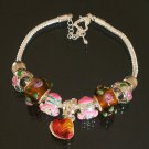 Plated Aldary Adjustable Chains Colorful Glass Beads Europe Bracelet EZ2088