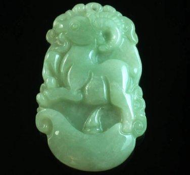 Natural Asia Jadite Jade Class A Carved Goat Ram Ewe Lamb One Of Zodiac Animal Amulet Pendant