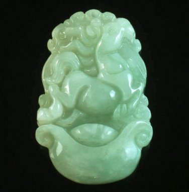 Natural Asia Jadite Jade Class A Carved Horse Steed Neddy One Of Zodiac Animal Amulet Pendant