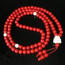 Turquoise Stone 108 0.4inch Red White Beads White Buddhism Buddha Prayer Mala Necklace