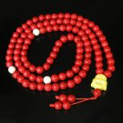 Turquoise Stone 108 0.4inch Red White Beads Yellow Buddhism Buddha Prayer Mala Necklace