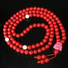 Turquoise Stone 108 0.4inch Red White Beads Pink Buddhism Buddha Prayer Mala Necklace