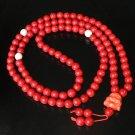 Turquoise Stone 108 0.4inch Red White Beads Orange Buddhism Buddha Prayer Mala Necklace