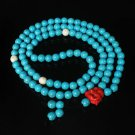 Turquoise Stone 108 0.4inch Baby Blue White Beads Red Buddhism Buddha Prayer Mala Necklace