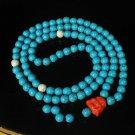 Turquoise Stone 108 0.4inch Baby Blue White Beads Orange Buddhism Buddha Prayer Mala Necklace