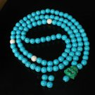 Turquoise Stone 108 0.4inch Baby Blue White Beads Green Buddhism Buddha Prayer Mala Necklace