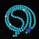 Turquoise Stone 108 0.4inch Baby Blue White Beads Blue Buddhism Buddha Prayer Mala Necklace