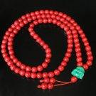 Turquoise Stone 108 0.4inch Red Beads Green Buddhism Buddha Prayer Mala Necklace