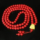 Turquoise Stone 108 0.4inch Red Beads Yellow Buddhism Buddha Prayer Mala Necklace