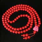 Turquoise Stone 108 0.4inch Red Beads Pink Buddhism Buddha Prayer Mala Necklace
