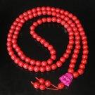 Turquoise Stone 108 0.4inch Red Beads Purple Buddhism Buddha Prayer Mala Necklace