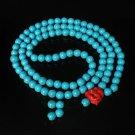 Turquoise Stone 108 0.4inch Baby Blue Beads Red Buddhism Buddha Prayer Mala Necklace