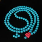 Turquoise Stone 108 0.4inch Baby Blue Beads Pink Buddhism Buddha Prayer Mala Necklace