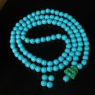 Turquoise Stone 108 0.4inch Baby Blue Beads Green Buddhism Buddha Prayer Mala Necklace
