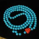 Turquoise Stone 108 0.4inch Baby Blue Beads Orange Buddhism Buddha Prayer Mala Necklace