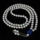 Turquoise Stone 108 0.4inch White Beads Blue Buddhism Buddha Prayer Mala Necklace