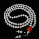 Turquoise Stone 108 0.4inch White Beads Orange Buddhism Buddha Prayer Mala Necklace