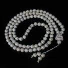 Turquoise Stone 108 0.4inch White Beads White Buddhism Buddha Prayer Mala Necklace