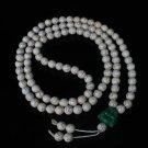 Turquoise Stone 108 0.4inch White Beads Green Buddhism Buddha Prayer Mala Necklace