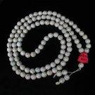 Turquoise Stone 108 0.4inch White Beads Pink Buddhism Buddha Prayer Mala Necklace