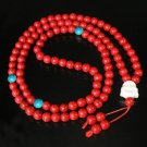 Turquoise Stone 108 0.4inch Red Blue Beads White Buddhism Buddha Prayer Mala Necklace