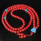 Turquoise Stone 108 0.4inch Red Blue Beads Blue Buddhism Buddha Prayer Mala Necklace