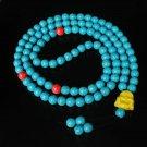 Turquoise Stone 108 0.4inch Red Blue Beads Yellow Buddhism Buddha Prayer Mala Necklace