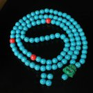 Turquoise Stone 108 0.4inch Red Blue Beads Green Buddhism Buddha Prayer Mala Necklace