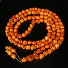 Fashion Jewelry Cool Turquoise 108 Orange Vein 10x12mm Skull Beads Necklace