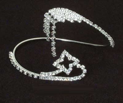 Rhinestone Bangle / Armband with Star Design 0411A-WQB11