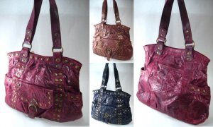 Elcante - Crinkle Leather Look Tote Style Handbags with Metal Button Studs. ( 0562HB-AH6511 )