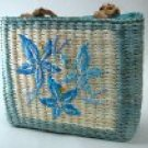 Woven Straw Handbags with Front Floral Design  0578HB-3437CH