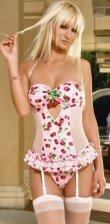 2 Piece Halter Cherry Print Cami Garter & G-String 0635L-81061