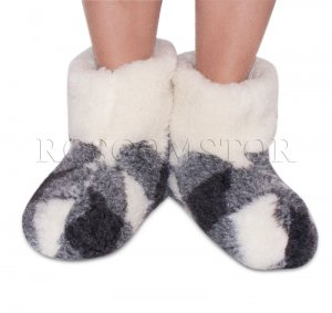 TRADITIONAL SHEEP WOOL SLIPPERS BOOTS 100% PURE WOOL WOMEN SIZE 6 US/ 4 UK/ 37 EU NEW