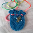 Crocheted Totem Pouch - Dragonfly - Turquoise
