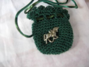 Crocheted Totem Pouch - Unicorn - Hunter Green